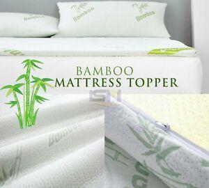 Memory Foam Bamboo Mattress Topper 4 cm Thickness Anti Allergic All UK Sizes
