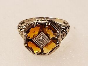 Antique Diamond Hessonite Garnet Ring. Size 10