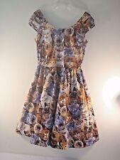 Retrolicious Cat Dress Size M Full Skirt Slit Cap Sleeve Cat Print 100%CottonVGC