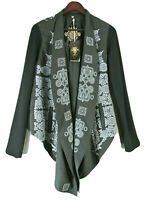 Johnny Was Biya Jacket Cardigan S-M Black Blue Embroidered NWT Boho Chick