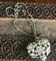Vintage Puffy Heart Pendant With Floral Design And Rhinestone Necklace (SDN1)
