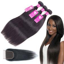 FULL HEAD 100% Virgin Human Hair Extensions Weaving 3 Bundles with 4x4 Closure