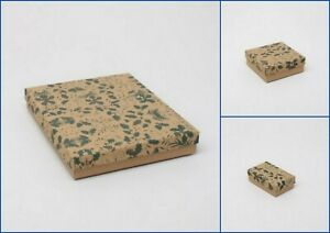 Holly Print jewellery Boxes Flocked Pad  Gift Christmas Wholesale