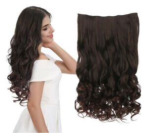 """REECHO 20"""" 3/4 Full Head Curly Wave Clips in/on Synthetic Hair Extensions DRK BR"""
