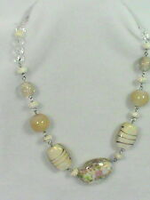 Foil Lampwork Art Glass Bead Necklace