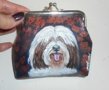 Tibetan Terrier dog Hand Painted Leather Clutch Change Coin Purse Vegan Wallet