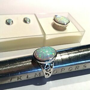 Sterling Silver opal oval Pendant and Earrings and Ring Set