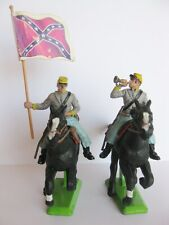 2 BRITAINS DEETAIL 1st FIRST SERIES CONFEDERATE MOUNTED CURVED BASE STANDS