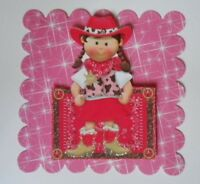 PACK 2 PINK COWGIRL TOPPER EMBELLISHMENTS  FOR CARDS AND CRAFTS
