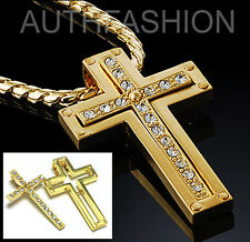 Cross Pendant Chain Necklace Hiphop #25 Separable 18k Gold Plated Mens Cubic