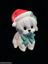 Lefton Red Foil Label~White Maltese Dog Xh7069~Puppy~Christmas Figurine~Euc