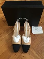 NIB CHANEL Two-Tone Beige Black Leather Slingbacks Shoes Pump size 38