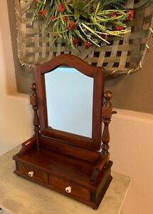 Ethan Allen Antiqued Pine Cheval Mirror Jewelry Box Shaving Vanity Tabletop