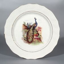 Vintage French Plate, Peacock,Bird, Orchies, Moulin des Loups, Hamage