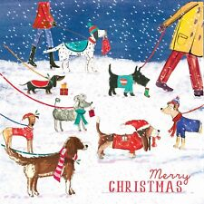 10 x Dog Walking Christmas Cards for Royal Trinity Hospice Charity Sausage Dog