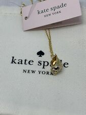 """Kate Spade Under The Sea Pave Goldtone Shell Pendant Necklace 16 & 3"""" S132"""