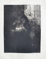 Eau Forte Originale d'Albert Besnard - Nuit de Noël à Fontarabie - 1904 - Signé