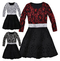 Girls Lace Dress New Kids Long Sleeved Christmas Skater Party Dresses 3-12 Years