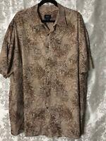 4X Harbor Bay Tall & Big Men Short Sleeve Button Down Hawaiian Shirt Brown Beige