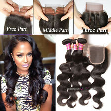 UNice 8A Brazilian Body Wave Human Hair 3 Bundles With Closure Hair Extensions