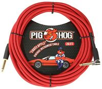 Pig Hog Candy Apple Red 20' Guitar Instrument Cable Rt Angle Connector