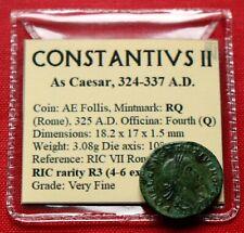 VF Rare Roman Coin 325AD Caesar Constantius II Follis Gate Rome Genuine