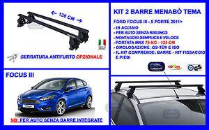Barre Portatutto Portapacchi Acciaio - Ford Focus III 5 p. 2011>