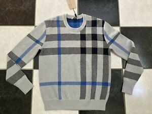 NWT 100% AUTH Burberry Men's Redbury Redbury Exploded-Check Sweater Sz S