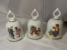 Norman Rockwell Bells Danbury Mint Limited Edition 1979 Set of 3 Mint Condition