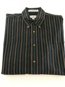 ENRO Pinpoint Oxford Blue Stripe Men's Dress Shirt Size Large Non Iron Cotton