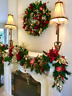Beautiful Set of 2, Red Poinsettia, Christmas Garland, Wreath, Pre Lit