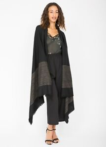 Twill Handwoven Merino Shawl and Oversize Scarf with Stripes Design 100 X 200cm