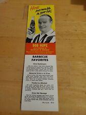 Bob Hope Hires Root Beet 1961 Original NOS Carton Insert with Recipes for Hires
