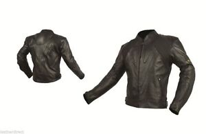 Black Racing CE Armoured Leather Motorcycle Jacket Classic Protection Motorbike