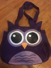 Purple OWL Cotton Purse Shoulder Bag pockets zipper snap double handles