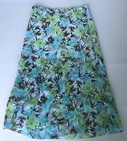 Gerry Weber Floaty Chiffon Skirt Sz 12 Green Floral Lined Layered Elastic Waist