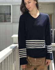 COMME des GARÇONS SHIRT Navy Blue Wool V-neck Sweater M Made in Japan