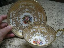 Tea Cup and Saucer Set Made in England  Bone China with Lots of Gold