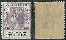 1924 REGNO PARASTATALI SCUOLE MILANO 50 CENT MNH ** - Y135