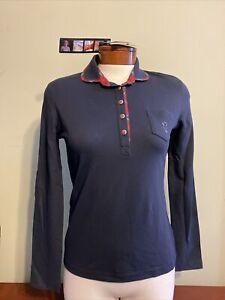 NWT GOLFINO Ladies Tartan Checked Long Sleeve Polo 1232524 580 Navy Sz 6 NEW