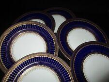 George Jones Crescent china Cobalt  Blue and gold 17.5 cm Side plates x 6