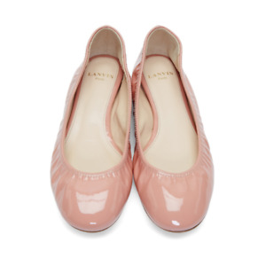 $550 NEW in BOX Lanvin Classic Patent Leather Ballet Flats NUDE Shoe 37 37.5 39