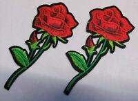 Set á 2 Stück Rose Rosen Aufnäher Patch Roses Applikation