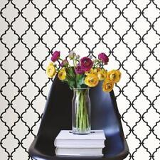 Classic Chic Black and White Modern Geometric Trellis Peel and Stick Wallpaper