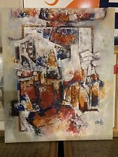 Oil painting by Rahi, leading abstractionist painter from Pakistan