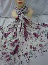 FLOWER PATTERN ALL SEASON LIGHT WEIGHT WRAP OR SCARF COLOR PLUM