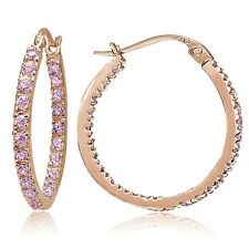 Rose Gold Flash Sterling Silver Pink CZ Inside Out 20mm Round Hoop Earrings