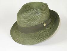 Men Summer Straw Style Hat BRUNO CAPELO Fedora Pinch Front Snap Brim FN829 Green