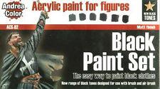Andrea Miniatures AND-ACS-002 Andrea Color Black Paint Set