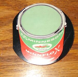 VINTAGE WEST GERMANY MINNESOTA MINNFLOX PAINT CAN ADVERTISEMENT NEEDLE PIN BOOK